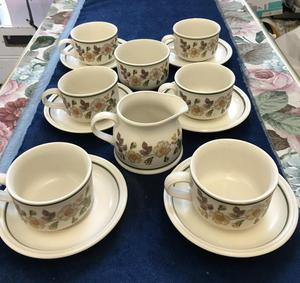 Marks and Spencer's cups and saucers x 6 with Milk and Sugar