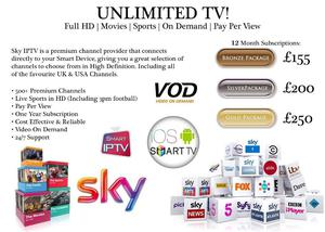 SMART TV - UK SPORTS IN HD/ 3PM FOOTBALL/ PPV BOX OFFICE/ USA TV + MUCH MORE