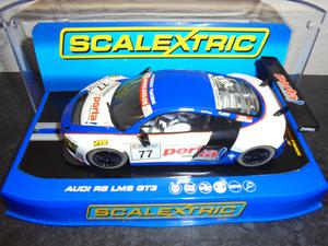 "Scalextric C Audi R8 LMS ""Phoenix Racing"" #77 lights/"