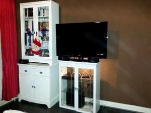 Set of display cabinet with cupboards and two drawers (three parts)