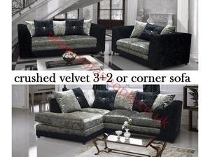 Silver and black crushed velvet sofa set, many other sofas