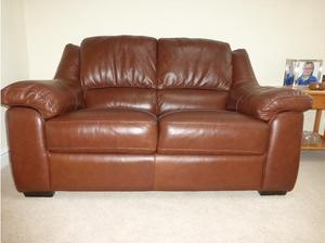 Two Matching Leather Sofas in Cardiff