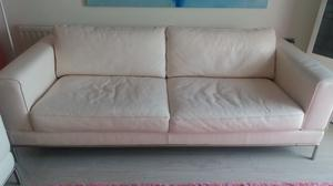250 Pound for Off White Leather Chaise lounge AND Blush Leather 3 Seat Sofa
