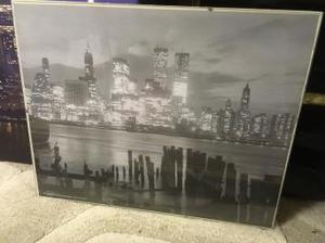Black and white print of New York skyline