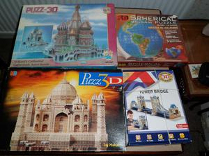 Four 3D jigsaw puzzles for sale