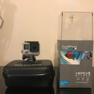 Gopro Hero 4 Silver 4k Video Recorder, 3 Batteries, Case + Accessories