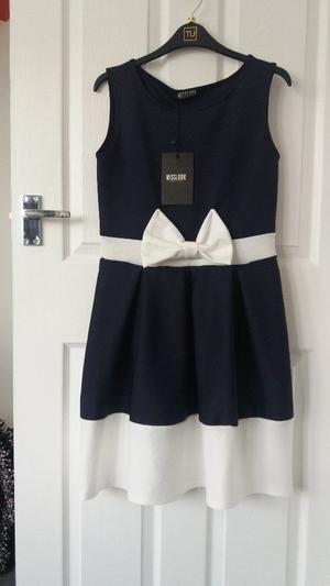 New Ladies Misslook Navy Blue & White Dress Size 14.