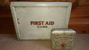 Pair of vintage first aid boxes & contents