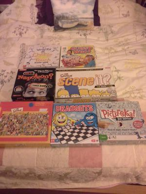 Variety of board games including Scene it Simpsons