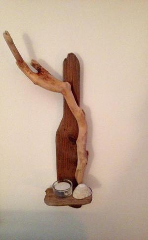 WOODEN DRIFTWOOD SHELL HANDCRAFTED CANDLE SCONCE