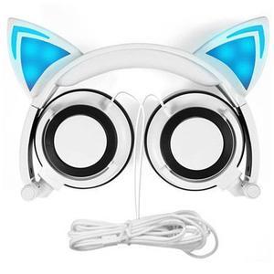 Cat Ear Headphones Foldable Over Ear Earphone with LED Flash