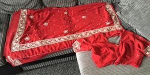 Deep red with silver saree and blouse
