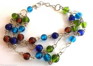 Green and Blue small bead handmade bracelet in a chain link