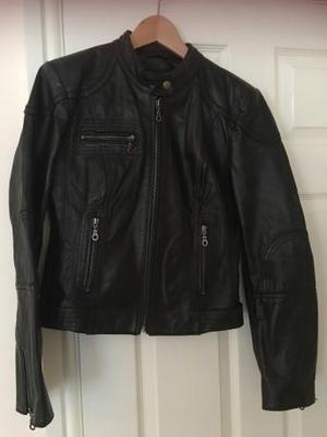 Next Black Leather Biker Style Jacket Size 12