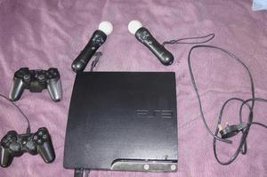 PS3 with Move Controllers and Camera and Games