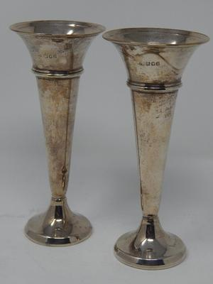Pair of Solid Silver Trumpet Vases Hallmarked London  by C.E: Height 16cm