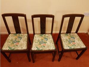 Vintage solid wood 3 chairs with vintage like pattern covers