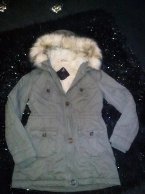 khaki green parka fully fur lined size 10