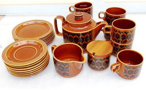 s Hornsea Pottery Autumn Brown Heirloom Tea Set