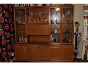 wood veneer and glass lounge display cabinet in Bognor Regis