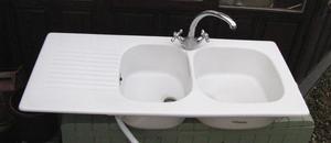 Ceramic Double Bowl kitchen sink & Chrome Mixer Tap