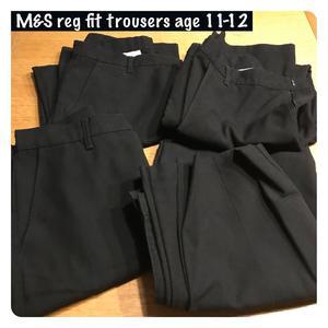 M&S Regular Fit Black School Trousers