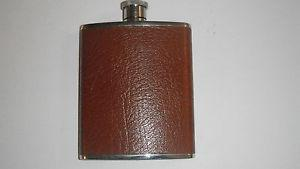 4 oz LEATHER AND STAINLESS STEEL HIP FLASK