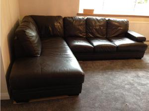 Corner Sofa with Chaise, dark brown leather in Sittingbourne