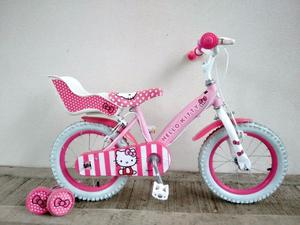 "("" HELLO KITTY Girls Kids Childs Bike Bicycle + STABILISERS; Age: 4-5, Height:  cm"