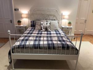 IKEA Leirvik European Double Princess Bed & Hovag Mattress