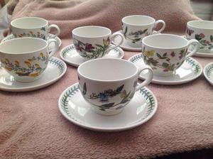 NEW SET OF PORTMEIRION 8 TEA CUPS AND SAUCERS BOTANIC GARDEN