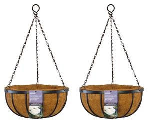 "Set of 2 x 30cm (12"") Georgian Metal Hanging Baskets & Coco"