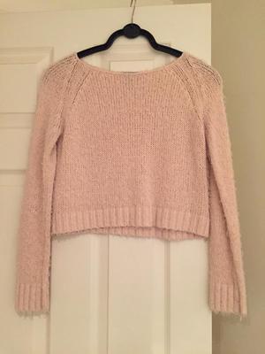 Topshop cropped pink jumper
