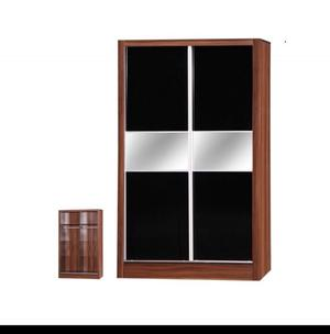 Walnut and black sliding wardrobe NEW