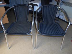 x2 Bistro/Patio Chairs. Black Plastic Wicker. Chrome Legs.