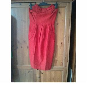 NEW River Island Bandeau Red Dress Bow Evening UK 10 Tulip