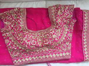 Saree - brand new pink with embroidered blouse + extra blouse piece