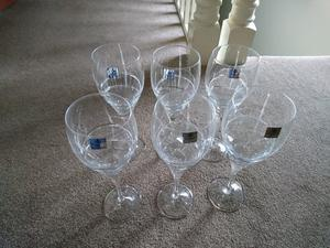 Set of 6 Fully Cut 24% Lead Crystal Wine Glasses