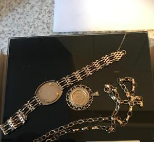 9ct gold jewellery, chain pendant and bracelet