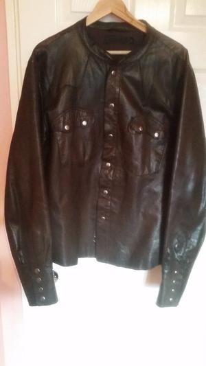 ALLSAINTS shirt Jacket in leather as new brown with clips paid 300£ only 49£!!! size XL