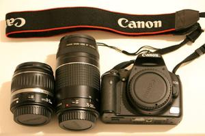 Canon EOS 450D 12.2MP Digital SLR camera package, boxed, black