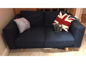 Ikea navy blue 2 seater sofa - 10 months old like new! Less