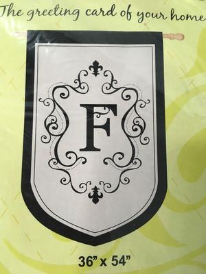"NEW Evergreen Monogram ""F"" Estate Appliquéd Decorative Flag"