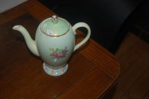 Vintage English Bone china Foley teapot with green floral bouquet