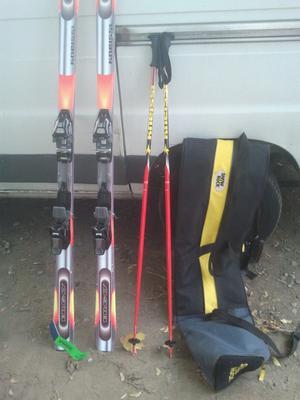 SKIS WITH POLES & BAG