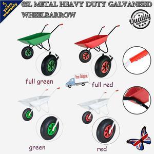 "65L Metal Heavy Duty Galvanised Wheelbarrow 12"" Pneumatic"