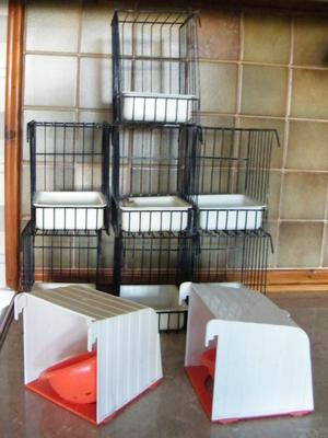 7 Wire Bird Baths and 2 outside cage nesting pans