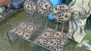 Beautiful iron chair bench seat rare in or outdoor