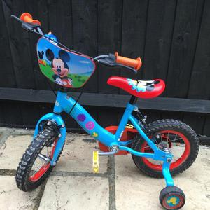 Disney Mickey Mouse 12in Kids Bike with Stabilisers