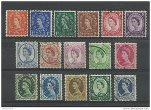 GB QEII Wildings Part Set of 16 Used Unchecked